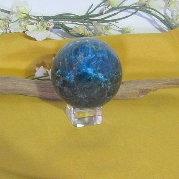 Blue Apatite Sphere & Stand