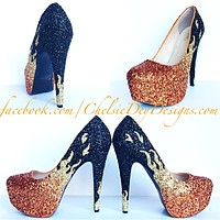 Fire Glitter High Heels, Orange Flame Pumps