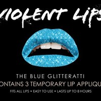 Violent Lips - The Blue Glitteratti - Set of 3 Temporary Lip Appliques