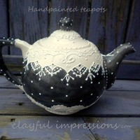 Pre order custom Whimsical, Victorian Styled Handpainted Ceramic teapot
