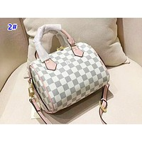 Louis Vuitton classic simple wild white chessboard shoulder slung female bag pillow bag