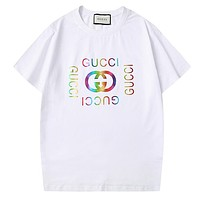 GUCCI New fashion multicolor letter print couple top t-shirt White