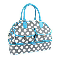 Gray, White and Turquoise Duffle Bag