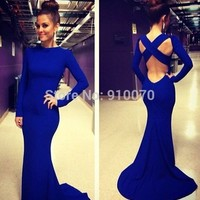 New Arrival Popular Designer High Neck Sexy Backless Criss CrossSpandex Fabric Long Train Prom Dresses 2014 Free shipping-in Prom Dresses from Apparel & Accessories on Aliexpress.com | Alibaba Group