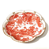Royal Crown Derby Trinket Dish, Tudor Rose Tray, Pheasants And Flowers, Red Aves Scalloped Dish, Gold Trim, English Bone China, Vintage 60s