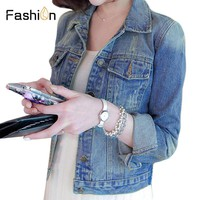 Plus Size 4XL Fashion 2018 Autumn Women Jeans Slim Denim Jacket Women Short Jean Jacket Basic Jackets Outwear Casaco Feminino