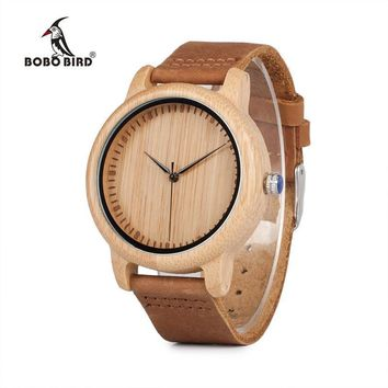 Women Bamboo Wood And Leather Strap Wrist Watch