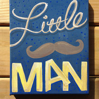 Little mustache Man boy art by letterLstudio on Etsy