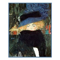 Art Nouveau Artist Gustav Klimt's The Lady with the Hat and Boa Counted Cross Stitch Pattern