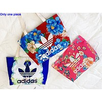 ADIDAS hot seller for women's canvas printed one-shoulder shopping bag with contrasting colors