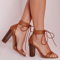 Missguided - Block Heeled Barely There Sandals Tan
