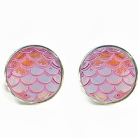 Dragon Skin Scales Iridescent Light Pink Stud Earrings / Stainless steel hypoallergenic