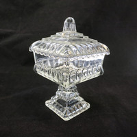 Jeanette Glass Wedding Box Clear Pressed Glass Candy Dish, Square Compote