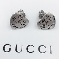 GUCCI Fashion new love heart earring women accessories Silver