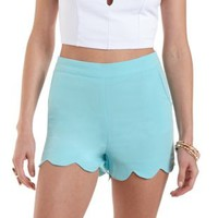 Mint Scalloped High-Waisted Shorts by Charlotte Russe