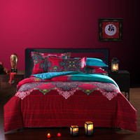 Bedding Sets Comforter Bohemian Bedding Set Retro Style Bedclothes Moroccan Bed Duvet Cover 100% Cotton 4pcs/set Free Shipping