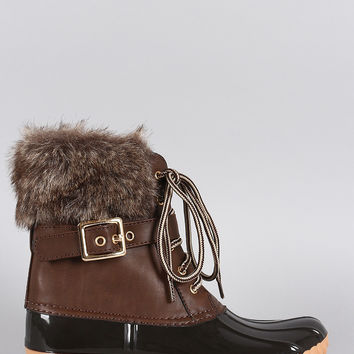 Brown Buckled Faux Fur Cuff Lace Up Duck Ankle Boots