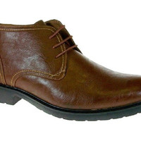 New Men's Ankle High Round Toe Lace Up Boots 51001 Brown-325