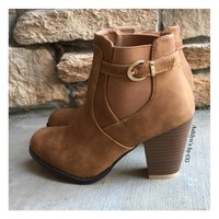 """""""Style and Flare"""" Always Faithful Buckle Strap Tan Heel Bootie Boots"""