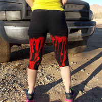 Red and Black Hand Dyed Leggings - Workout Pants - Size Medium / Large