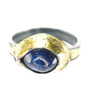 Blue Sapphire Eye Ring with Oxidized Silver and Fused 14K Gold