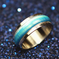 New Blue Cat-eye Opals Enamel Rotatable Stainless Steel Finger Ring For Punk Women and Rock Men Fashion Jewelry nj57