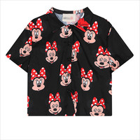 Black Mickey Print Cropped Blouse