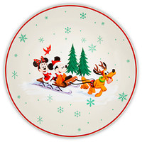 Santa Mickey Mouse and Friends Happy Holidays Dessert Plate | Disney Store