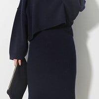 Long Sleeve Sweater and Skirt Twinset