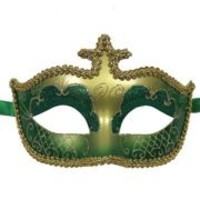 Green and Gold Hand Painted Venetian Masquerade Mask With Glittery Scrollwork