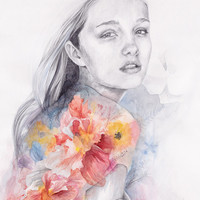 Girl with watercolor flowers, warm colors  illustration