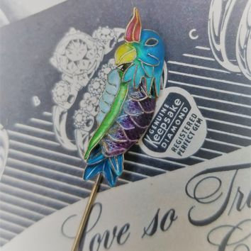 Chinese export parrot enamel silver vintage stick pin