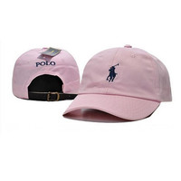Pink Polo Embroidered Cotton Baseball Cap