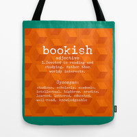 Bookish Tote Bag for book lovers - gifts for readers, book lovers, book bag, grocery bag, orange turquoise green, shopping bag carry-all bag