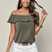 Ruffle Top Two Pack in Olive & Black | VENUS
