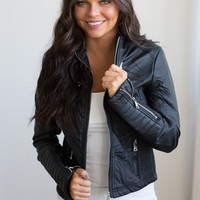 Be Cool Faux Leather Jacket - Black