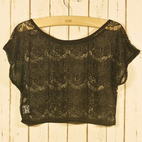 Lace Eyelashed Smock in Noir Black Onesize