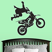 Wall Decal Vinyl Sticker Decals Art Decor Design Dirty Motocross Motorcycle Jumping Moto Sport Extrime Kids Children Cool Gift Bedroom(r516)