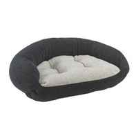 Berber Lounger Bolstered Dog Bed — Carbon with Oatmeal Reverse
