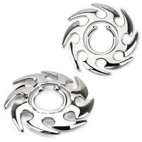 Tribal Swirl Non-Pierce No Pierce Fake Clip On Nipple Rings - Sold as a Pair
