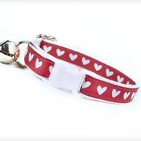 "Cat Collar - ""Heart and Soul"" - Tiny Hearts on Rose Pink"