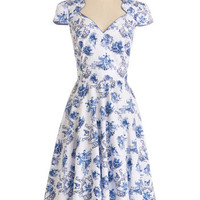 ModCloth Long Cap Sleeves A-line Toile or Nothing Dress