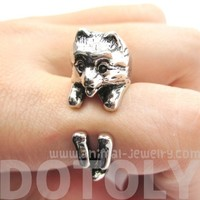 3D Pomeranian Shaped Animal Wrap Ring in Shiny Silver | Size 4 to 8.5