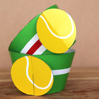 Printable 3D Tennis Ball Sports Party Cupcake Wrapper Set with a green & white  horizontal stripes INSTANT DOWNLOAD
