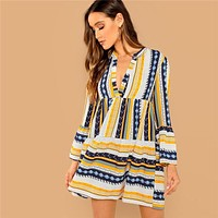 Multicolor Vacation Casual Striped Mixed V-Cut Neck Flounce Sleeve Ruffle Dress  Modern Lady Holiday Women Dresses