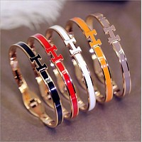 Hermes Multi - color bracelet ladies candy color titanium steel gold - plated rose gold stainless steel bracelet