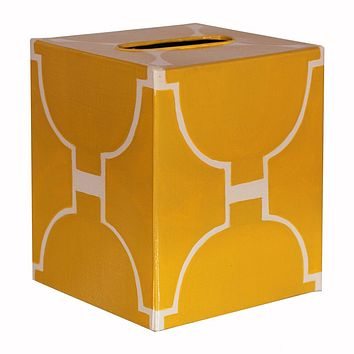 Yellow & Cream Tissue Box Cover by Worlds Away