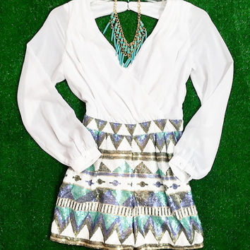 GIRLS NIGHT OUT SEQUIN ROMPER IN WHITE MULTI