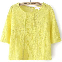 Yellow Lace Embroidered Short Sleeve Top