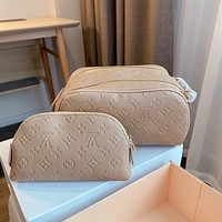 LV Louis Vuitton embossed logo women's cosmetic bag coin purse two-piece set